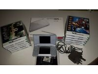 Nintendo ds lite silver 10 games , charger, excellent condition.