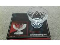 Cristal D'arques two boxes of four sundae dishes total of 8 dishes