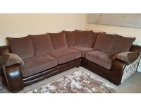 DFS CORNER SOFA REAL LEATHER AND FABRIC