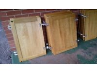 Solid Oak Kitchen cupboard doors and hinges x 22