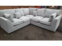 Great Brand New large light grey cream silver fabric corner sofa .delivery available