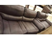 Ex display Brown endurance leather 3+3 seater sofas