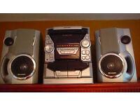 Sharp Silver Stereo System CD-BA1700 - 3-CD Changer, Tape Deck, Radio