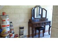 BEAUTIFUL DRESSING TABLE WITH DRAWERS, TRIPLE MIRROR WITH DRAWERS & STOOL..BARGAIN