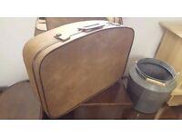 Retro Beige Suitcase in Good Condition