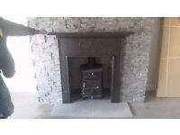 Antique cast iron fireplace surround(stove surround )