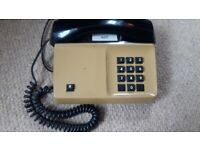 Vintage Button Telephone - camel & brown