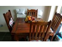 Indian wood hand crafted dining table and 4 chairs