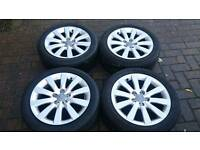 GENUINE AUDI A1 ALLOY WHEELS SUPERB TYRES 5X100 VW POLO SEAT IBIZA MK4 GOLF CELICA