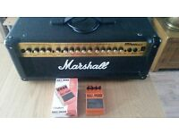 Marshall guitar amp and hot head pedal