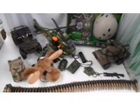 Huge Bundle of Boys Toys - Army Tanks Helicopter with lights/sounds Binoculars Quad Bike & More