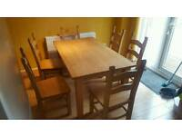 Solid beech Table & 6 chairs