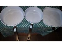 3 ceramic pans. frying and griddle. removable handles for oven use - Sky blue