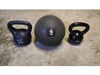 12Kg/6Kg Kettlebells + slamball Cardio HIIT Fitness
