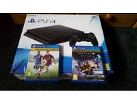 PS4 SLIM, in box, 1 controller, 2 games