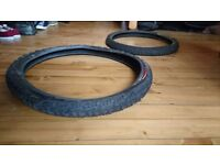Two mountain bike MTB tyres 26 - 2.5 very little use