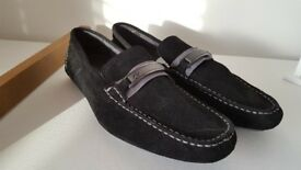 Calvin Klein Grey Suede Loafers Size 9.5M US 42.5M EU formal slip on NEW