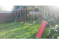 garden swing see saw and slide
