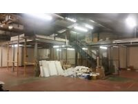 Used mezzanine floor 15m x 10m with stairs, handrails and mesh sliding doors
