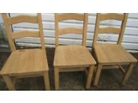 3X STRONG HARD WOOD DINING CHAIRS BROMLEY BR2 7PE.