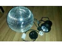 Large Disco Mirror Ball & motor & spotlight