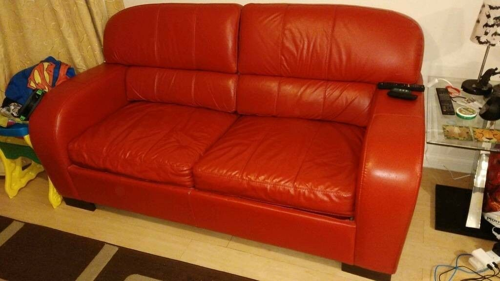 Dfs Red Leather Deluxe Sofa Bed In Great Cambourne Cambridgeshire Gumtree