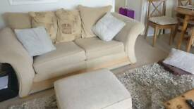 Three seater sofa poufee dfs