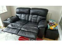 2 Seater Reclining Black Leather sofa