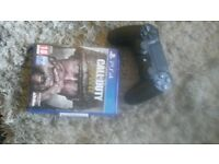 ps4 black controller and call of duty ww2.