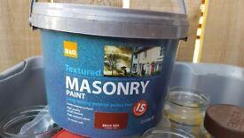 Unopened b+q masonry paint brick red 2.5l