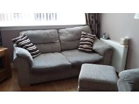 2 x sofa's and footstool (one is a sofa bed). Extendable dining table.