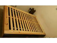 Storage wooden double bed raised