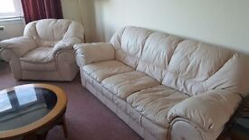 Cream leather sofa and two armchairs
