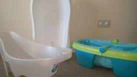 Three Baby Baths; newborn, baby/toddler, travel. Excellent condition.