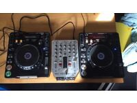 Pair of Pioneer CDJ 1000 MK3's with Behringer Mixer and Flight Decks