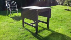 IKEA SOLID WOOD DROP LEAF DINING TABLE MODERN DESIGN IN BLACK GOOD CONDITION COULD DELIVER LOCALLY