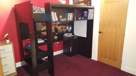 Exellent condition london black high sleeper with desk and storage.