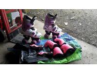 Kids Roller Skates with full knee/elbow pads set