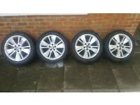 "17"" Saab alloy wheels recent new tyres 225 45 17 fit vauxhall 5x110 PCD"