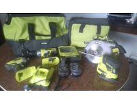 ryobi tool set and bags.