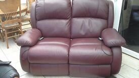 2 x 2 seater leather electric recliners