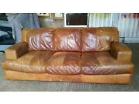 Pending Collection Large 4 Seater Distressed Leather Sofa