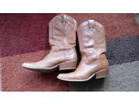 Tan Ladies 'cowboy boots' size 5/38