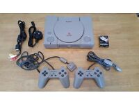 Sony Playstation + 2 Controllers + 1 boxed original memory card