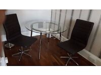 Glass table and Leather Swivel Chairs