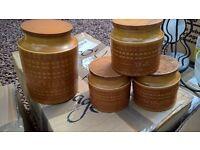 vintage retro hornsea safforn coffee tea sugar and biscuits storage jars