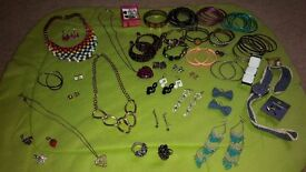 large bundle of jewellery earnings necklaces blacelet