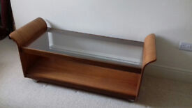 G plan vintage coffee table with glass top