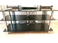 Black Glass Top TV Stand (Excellent Condition)