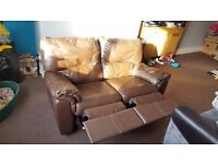 Brown Leather Two Seater Manual Recliner Sofa